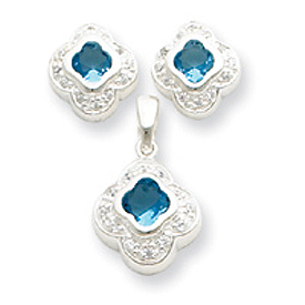 Sterling Silver Blue CZ Earrings and Pendant Set. Price: $48.92