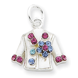 Sterling Silver Multi-Colored Crystal Shirt Charm. Price: $17755.98