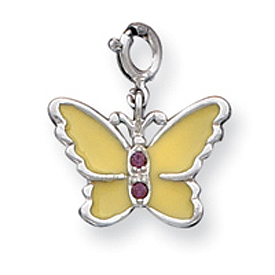 Sterling Silver Yellow Enameled CZ Butterfly Charm. Price: $41.40