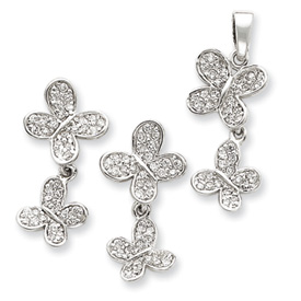 Sterling Silver CZ Butterfly Pendent & Earring Set. Price: $54.40