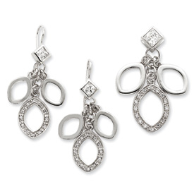 Sterling Silver CZ Dangle Pendant & Earring Set. Price: $99.08