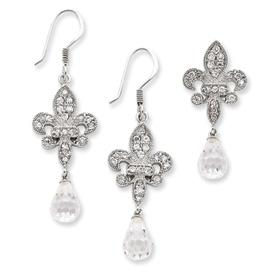 Sterling Silver Fleur-de-lis CZ Earring & Pendant Set. Price: $92.66