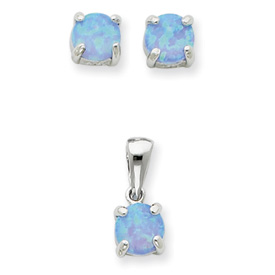 Sterling Silver Created Opal Pendant & Earring Set. Price: $39.90
