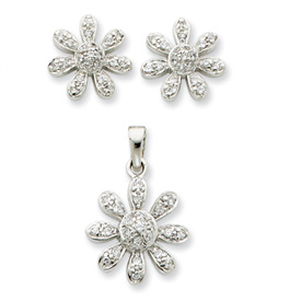 Sterling Silver CZ Flower Pendant & Earring Set. Price: $52.52