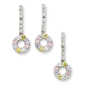 Sterling Silver Yellow & Pink CZ Earring & Pendant Set. Price: $48.72