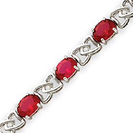 Sterling Silver 7''  Ruby Color CZ Bracelet. Price: $102.50