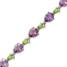 Sterling Silver 7''  Amethyst & Peridot Bracelet. Price: $261.70
