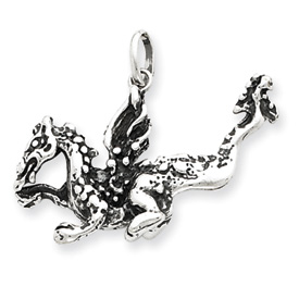 Sterling Silver Antiqued Dragon Charm. Price: $42.93