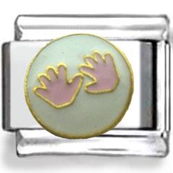 Girl Baby Hands Enamel Charm