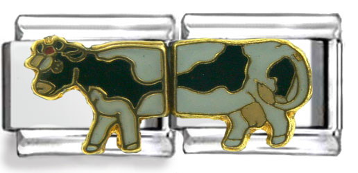 Cow Double Link Enamel Charm