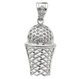Sterling Silver Cubic Zirconia Basket Ball & Net Pendant. Price: $89.36
