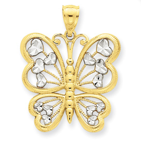 14K Gold & Rhodium Diamond Cut Butterfly Pendant. Price: $162.64