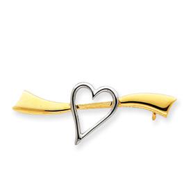14k Gold & Rhodium Solid Satin Polished Heart Pin. Price: $174.82