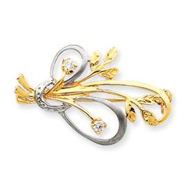 14K Gold & Rhodium Cubic Zirconia Designer Pin. Price: $232.94