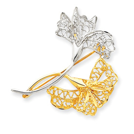 14K Gold & Rhodium Filigree Floral Pin. Price: $250.50
