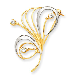 14K Gold & Rhodium Cubic Zirconia Swirl Pin. Price: $270.20