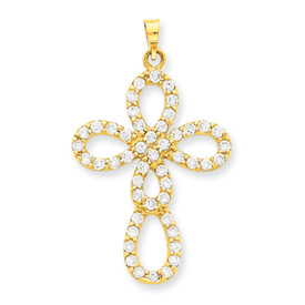 14K Gold CZ Cross Pendant. Price: $166.34