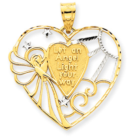 14K Gold & Rhodium Angel Heart Pendant. Price: $139.24