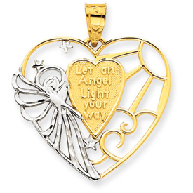14K Gold & Rhodium Angel Heart Pendant. Price: $144.90