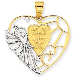 14K Gold & Rhodium Angel Heart Pendant. Price: $144.90