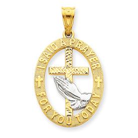 14K Gold & Rhodium Praying Hands Pendant. Price: $147.16