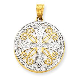 14K Gold  & Rhodium Diamond -Cut Cross Pendant. Price: $128.76