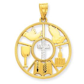 14K Gold & Rhodium Religious Circle Pendant. Price: $203.56