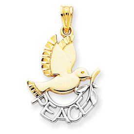 14K Gold & Rhodium Peace Dove Pendant. Price: $68.62