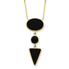 "14K Gold 16"" Fancy Onyx Necklace. Price: $308.36"