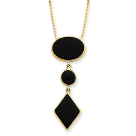 "14K Gold 16"" Fancy Onyx Necklace. Price: $314.18"