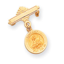 14K Gold Saint Lucy Medal Pin. Price: $195.40