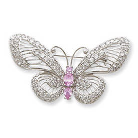Sterling Silver Pink and Clear CZ Butterfly Pin. Price: $113.50