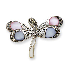 Sterling Silver Marcasite and Mother of Pearl CZ Butterfly Pin. Price: $79.26