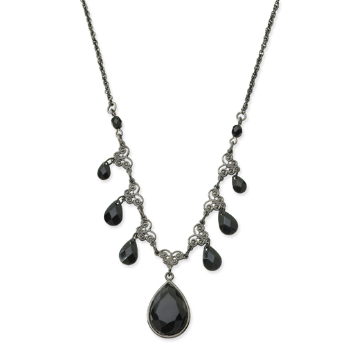 "Black-Plated Faceted Jet Bead Multi Teardrop 16"" Necklace. Price: $37.35"