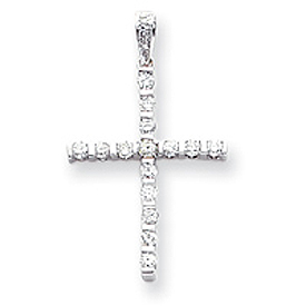 14K White Gold Diamond Latin Cross Pendant. Price: $625.26