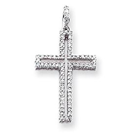 14K White Gold Diamond Latin Cross Pendant. Price: $743.97