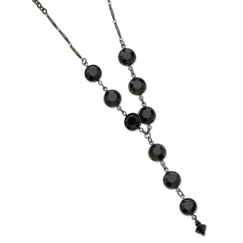 Black-Plated Faceted Jet Bead Bezel Drop Y 16'' Necklace. Price: $26.94