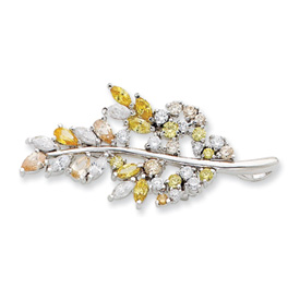 Sterling Silver Multi-color CZ Leaf Pin. Price: $51.20