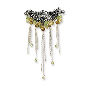 Sterling Silver Peridot/Freshwater Cultured Gold Pearl/Lime Crystal Pin. Price: $58.40