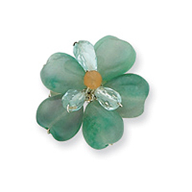 Sterling Silver Carnelian/Fluorite/Green Crystal Bead Flower Pin. Price: $23.28