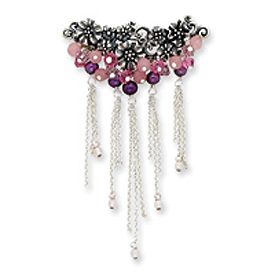 Sterling Silver Lavender Agate/FW Cultured Pearl/Rose Qtz/Crystal Pin. Price: $58.92
