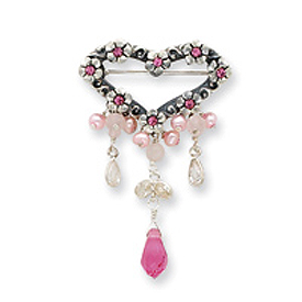Sterling Silver Rose Quartz/Pink Crystal/FW Cultured Pearl/CZ Pin. Price: $42.94