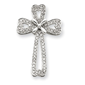 14K White Gold Diamond Filigree Cross Pendant. Price: $418.37