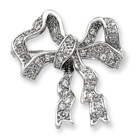 Sterling Silver CZ Bow Pin. Price: $43.56