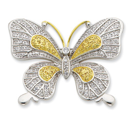 Sterling Silver Vermeil CZ Butterfly Pin. Price: $147.60
