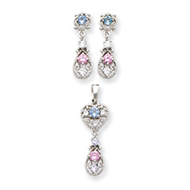 Sterling Silver Pink & Blue CZ Earrings and Pendant Set. Price: $52.26