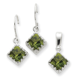 Sterling Silver Olivine CZ Earrings and Pendant Set. Price: $45.48