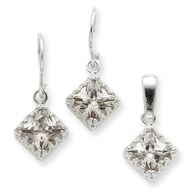 Sterling Silver Champagne CZ Earrings and Pendant Set. Price: $40.59