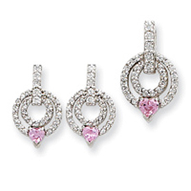 Sterling Silver Pink & Clear CZ Earrings and Pendant Set. Price: $67.72