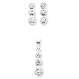 Sterling Silver 3 Stone CZ Earrings and Pendant Set. Price: $53.46